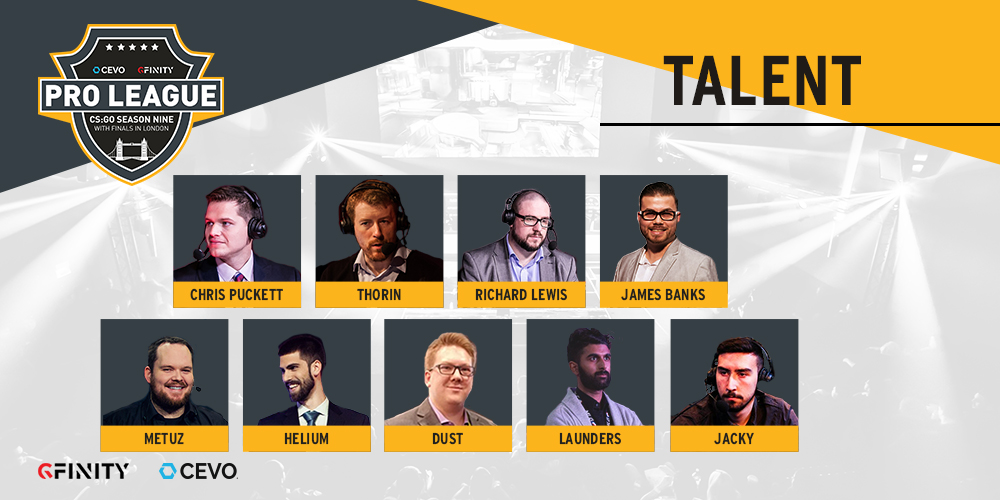 CEVO Gfinity CS:GO Pro League Season 9 Talent Lineup